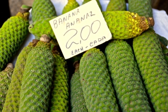 Monstera bananas on sale in Funchal market, Madeira