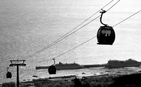 Cable cars & cruise ships in Funchal, Madeira