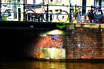 Bikes parked on a bridge in Amsterdam - a very typical sight there.