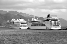 Aida & MSC cruise ships in dock, Santa Cruz, Tenerife
