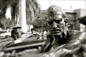 Statue of fishermen in Santa Cruz, Tenerife