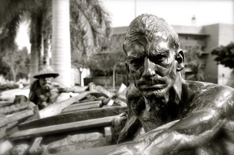 Statue of fishermen in Santa Cruz, Tenerife