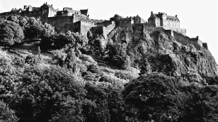 Edinburgh Castle, looking up from Princes Gardens.
