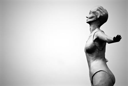 """The Diving Belle"" - a statue on the pier looking out to Scarborough Bay"