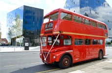 An old London Routemaster bus, now used for transportation of wedding parties, at Mann Island, Liverpool