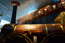 The Lion locomotive with an Overhead Railway carriage in the background, Museum of Liverpool