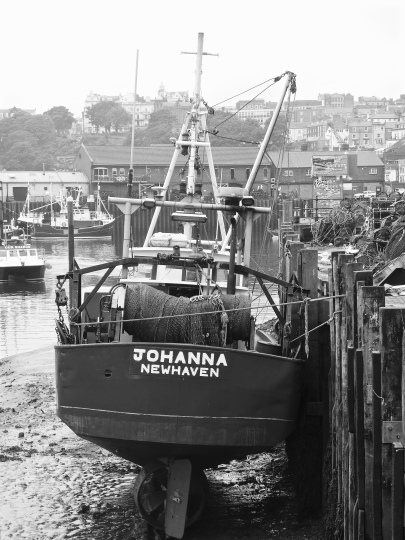 Fishing boat 'Johanna' in dock, Scarborough, Yorkshire.