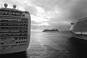 Three cruise liners at St Maarten, Caribbean