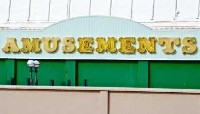 Amusements sign on Burnham-on-Sea pier.