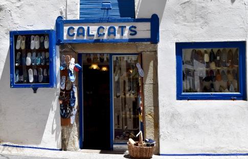 A famous old shoe shop in Sitges.