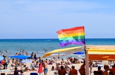 The flag signifies the beginning of the gay beach, Bassa Rodona