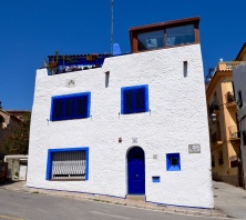 A beautiful house, typical in Sitges style of using vibrant blue and white.