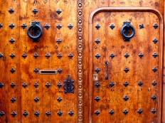 Showing the detail of the woodgrain and metalwork in this door