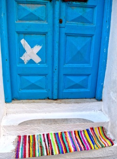 Blue Door/Rainbow Mat