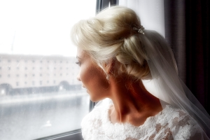 Bride reflecting