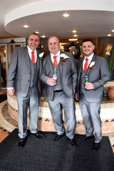 Groom, son and best man