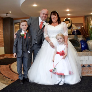 Bride, groom and grandchildren